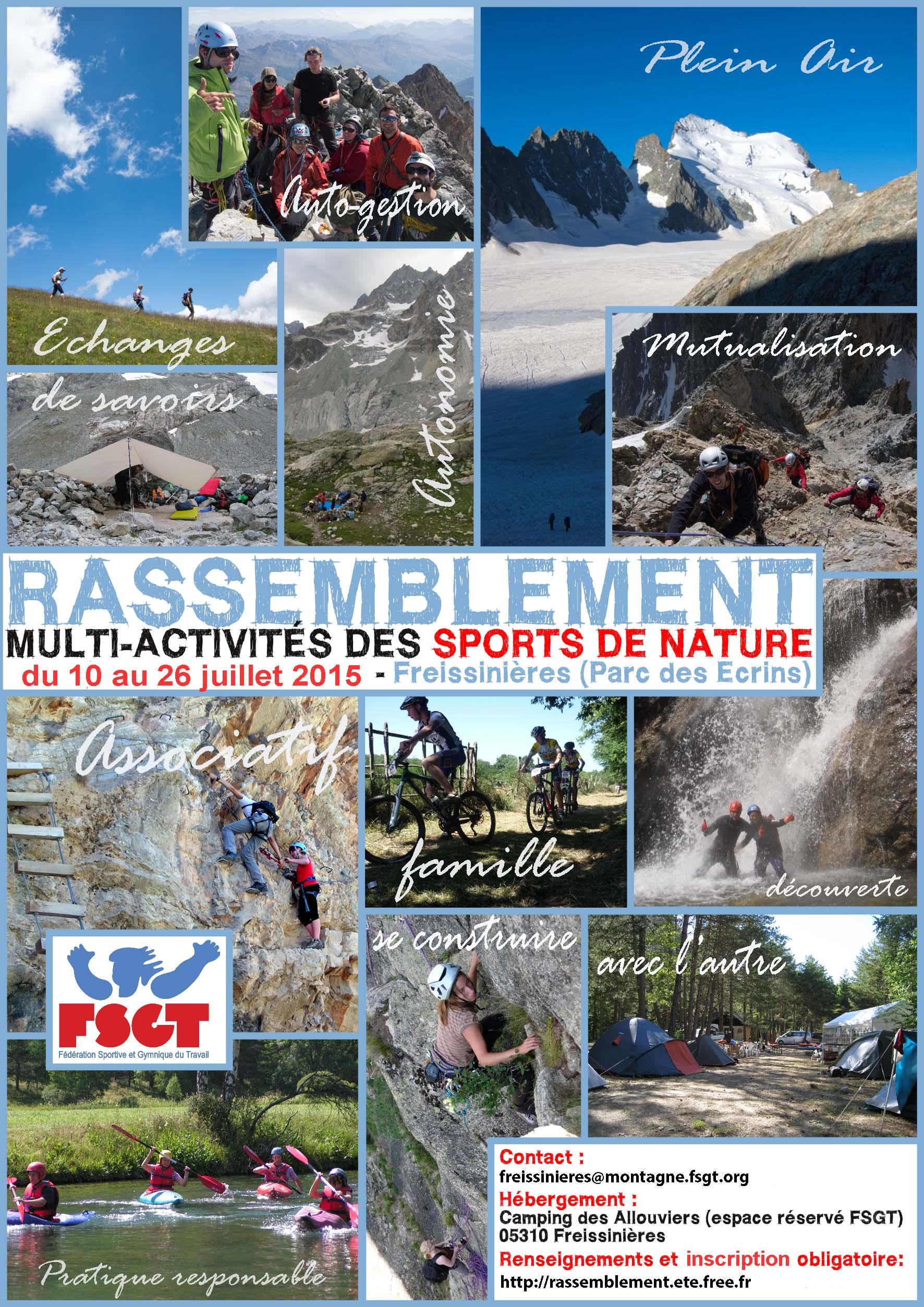 Du 10 au 26 juillet 2015 – Rassemblement multi-activités FSGT à Freyssinières (05)