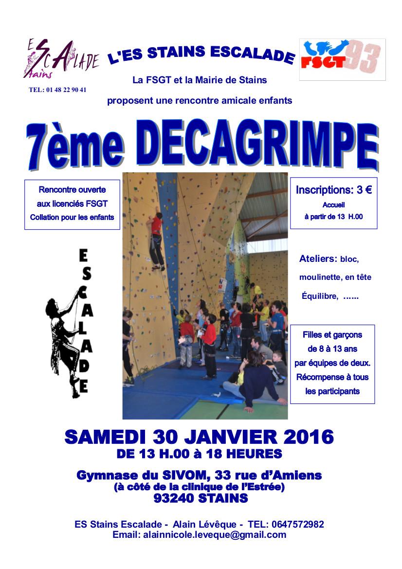 Samedi 30 Janvier 2016 – Décagrimpe Stains  Jeunes 10-13 ans