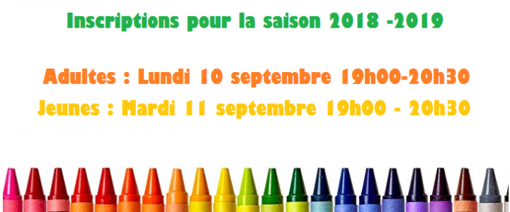 Inscriptions 2018 -2019