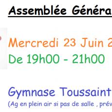 Assemblée générale mercredi 23 juin 2021 à 19h